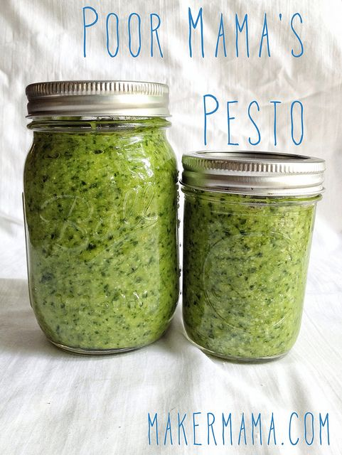Pesto without pine nuts, which I ilke...it can be a pain to find them around here...Poor Mama's Pesto Recipe || Maker Mama #food
