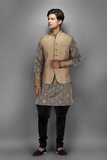 Grey Cotton Zari Kurta with Waistcoat