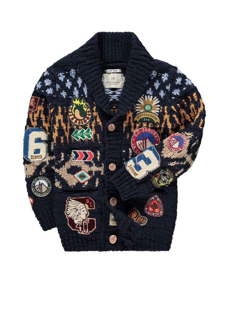 Scotch Shrunk Grofgebreid vest met dessin en emblemen • de Bijenkorf