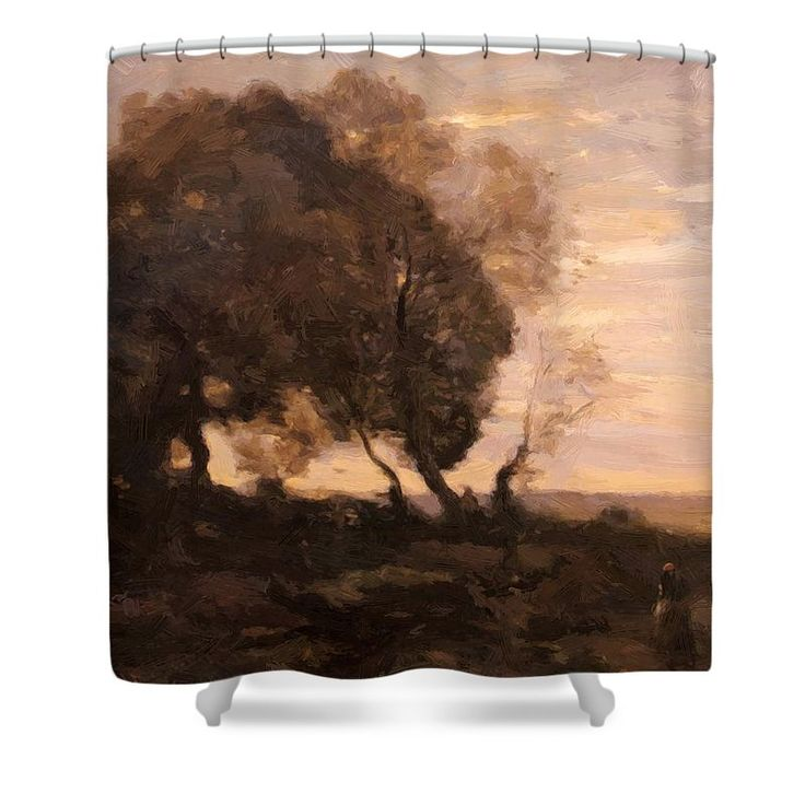 Twisted Shower Curtain featuring the painting Twisted Trees On A Ridge Sunset by Corot Camille