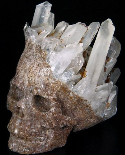 "Druse, Huge 4.7"" QUARTZ ROCK CRYSTAL Carved Crystal Skull, Crystal Healing 
