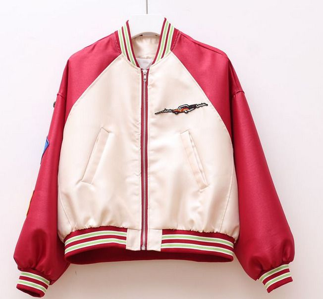 Womens Students Cartoon Letters Baseball Coats Slim Fit Stand Collar Jackets