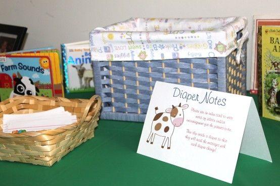 Farm Baby Shower Diaper Notes Activity