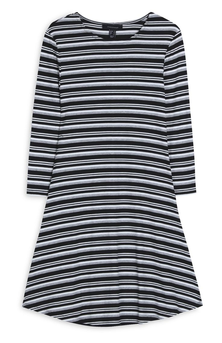 Primark - Vestido manga comprida às riscas branco