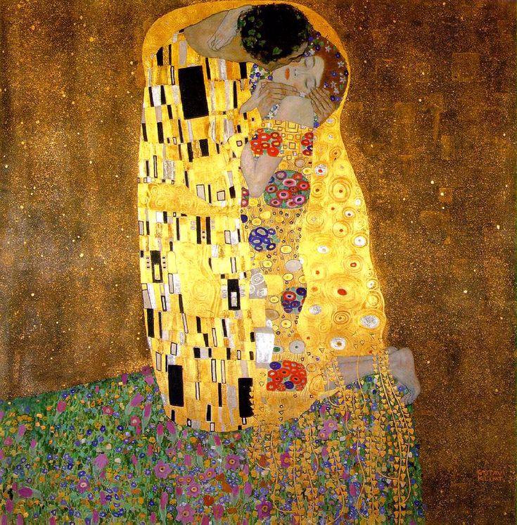 Gustav Klimt, Il bacio, 1907-08, olio su tela; Österreichische Gallerie Belvedere, Vienna.