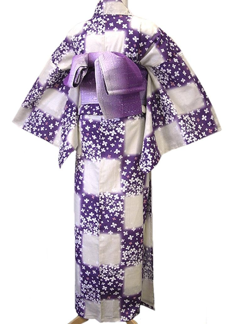 Amazon | 着物美人 浴衣 ゆかた 女性用 綿麻 変り織り 紫半幅帯 浴衣帯 下駄 3点セット 【 生成 市松 】a449018-2 | 浴衣 通販
