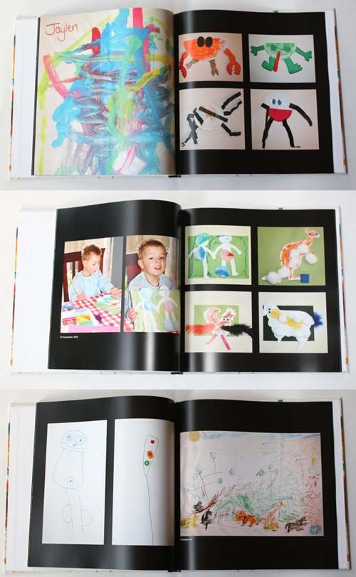 a great way to organize kids artwork. That way you don't have to hang those precious (but unattractive) paintings around the home
