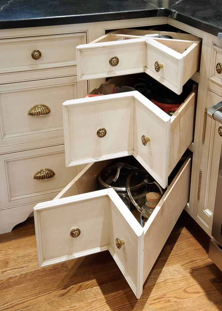 Corner Drawers. An Alternative To Having A Lazy Susan In The Corner.