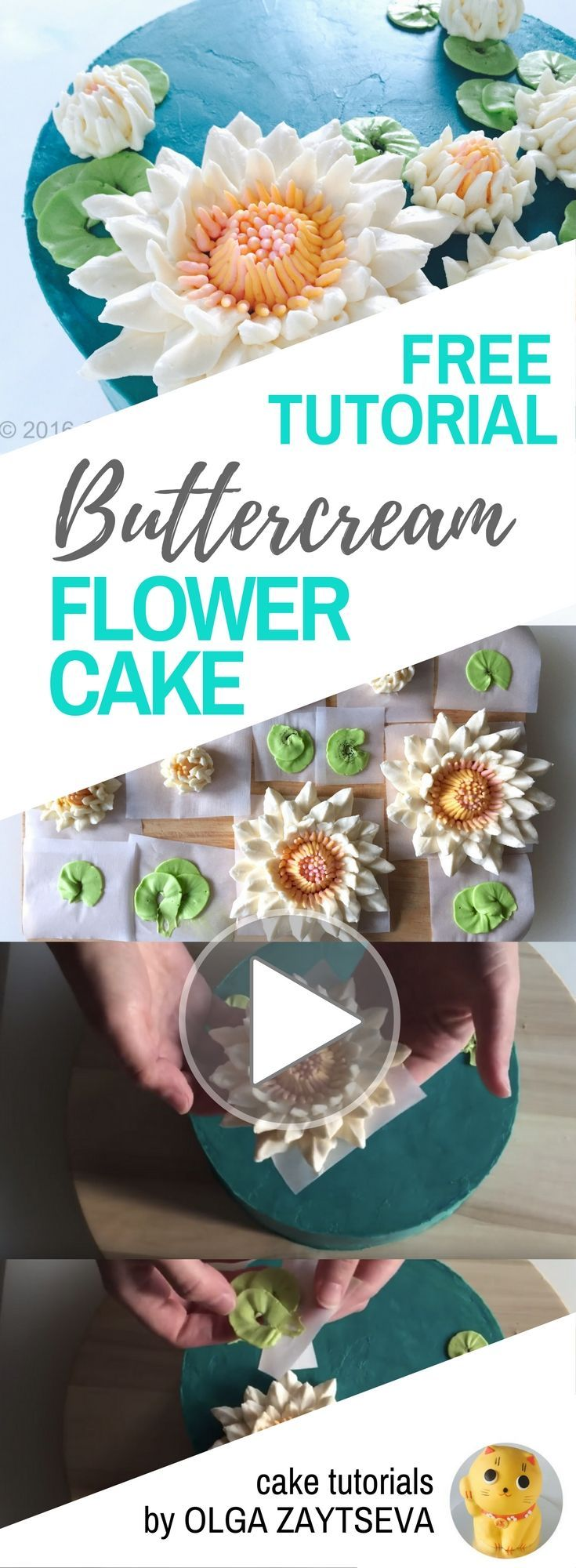 HOT CAKE TRENDS How to make Buttercream Water Lily cake - Cake decorating tutorial by Olga Zaytseva. Learn how to make very trendy buttercream Water Lily flowers and create this gorgeous cake. #cakedecoratingtutorials