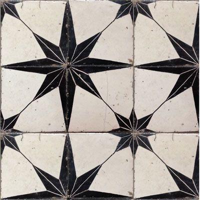Star print antique tiles.