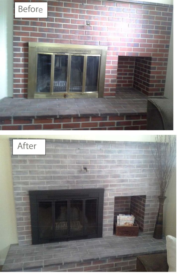 Our new house had a lovely retro red brick fireplace with - How to make a brick fireplace look modern ...