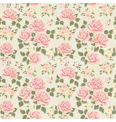 Pink vintage rose pattern vector by sticknote on VectorStock®