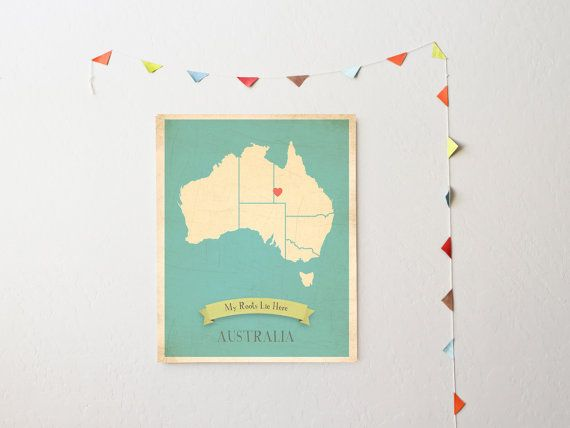Choose Your Continent Personalized Vintage Map Wall Art by MyRoots, $30.00