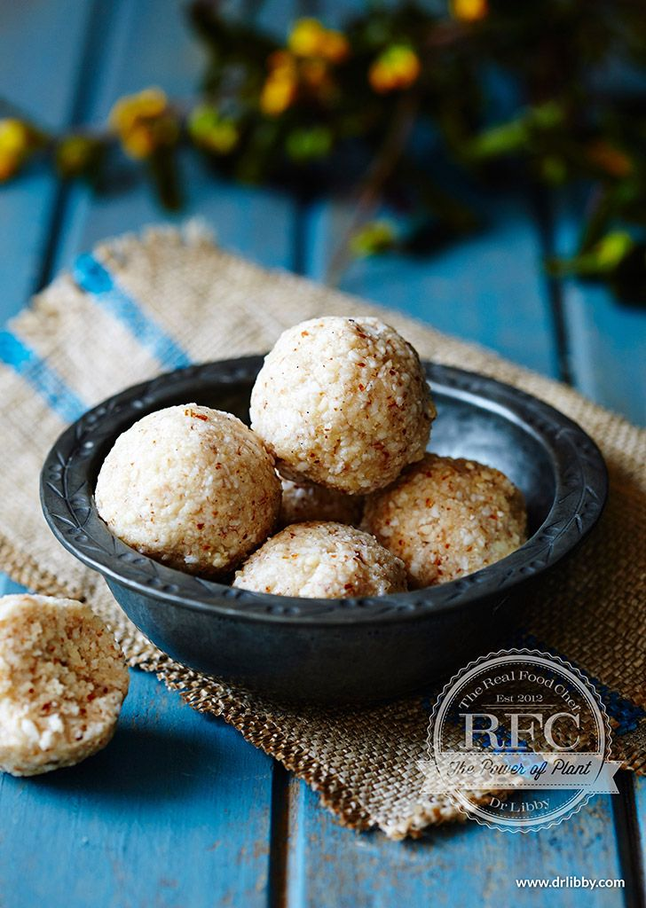 Vanilla Coconut Balls of Bliss | Almonds contain vitamin E, a powerful antioxidant and a nutrient that is great for lovely skin. They are also high in monounsaturated fats, the same beneficial fats that are found in olive oil. Consumption of these nuts has also been linked to reduced risk of heart disease. However, if you need to make it a nut-free dish, substitute seed meal in place of the almond meal. | www.drlibby.com