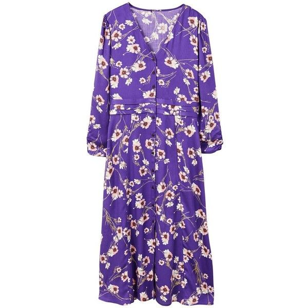 Floral Pattern Dress (€57) ❤ liked on Polyvore featuring dresses, long sleeve ruched dress, long-sleeve maxi dresses, v-neck dresses, purple floral dresses and purple dress