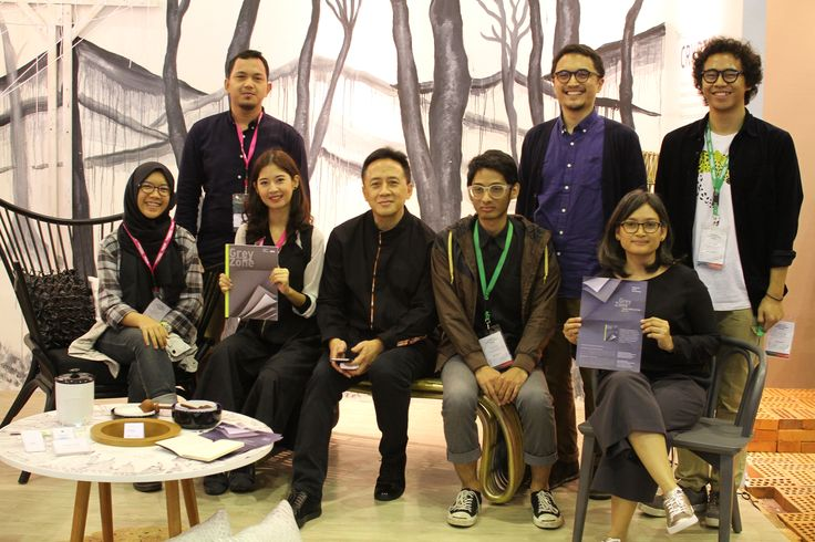 Triawan Munaf with Indonesia Trend Forecasting team at their booth. Indonesia Trend Forecasting is a collaboration trend research & forecasting team in Indonesia creative industry scenes.