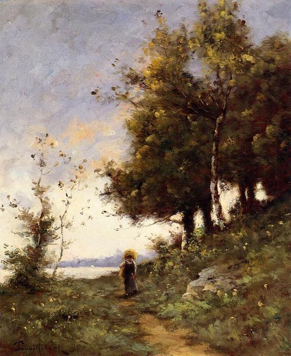 Femme sur un chemin, huile sur toile de Paul Désiré Trouillebert (1829-1900, France)