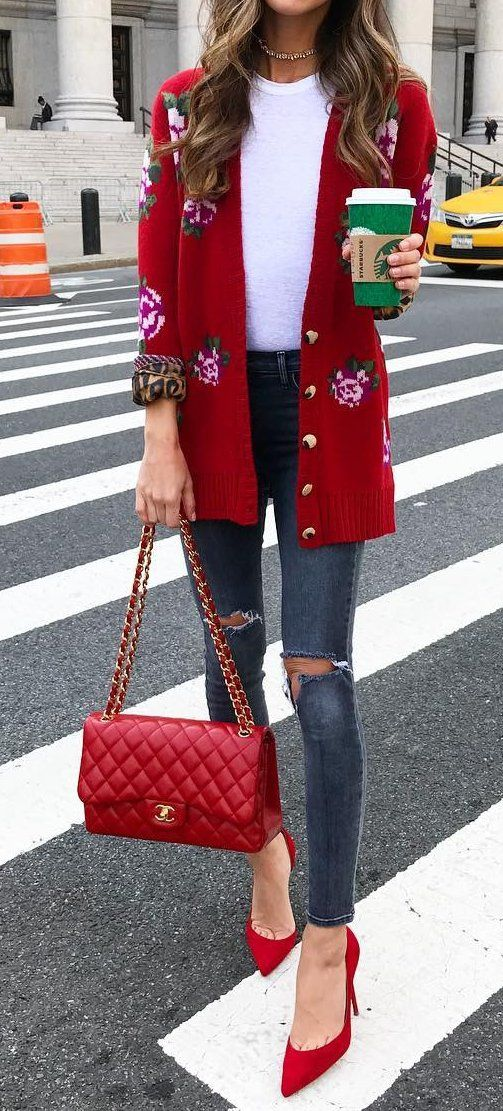 #outfit #ideas ·  Print Red Cardigan // White Top // Red Pumps // Red Channel Leather Bag // Destroyed Skinny Jeans