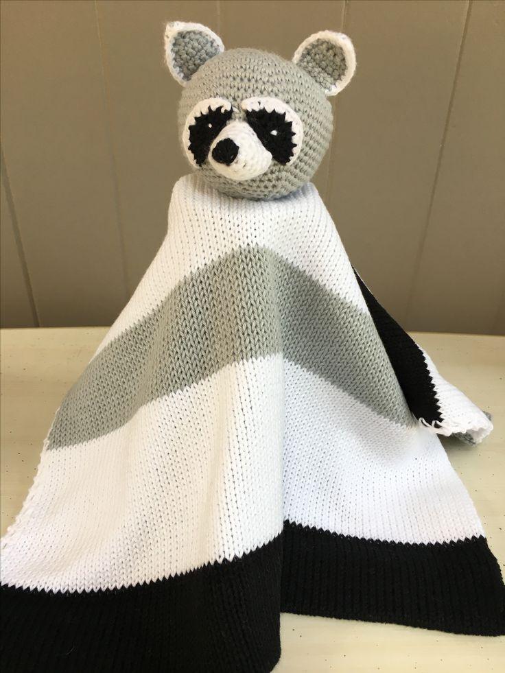 Racoon Lovey Blanket.100% cotton knit and crochet.machine washable.www.thebabyblanketlady.com