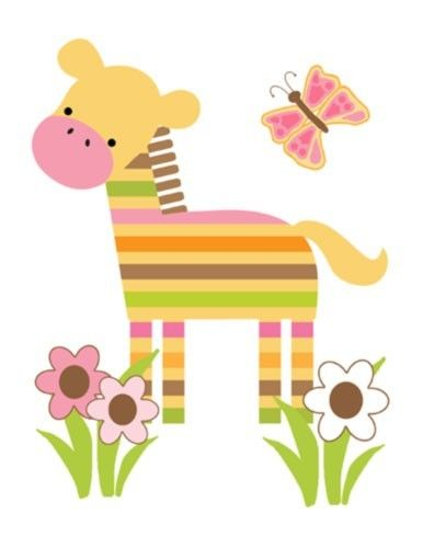 """Pink Mod Jungle Zebra Wall Mural for baby girl nursery or kids room decor. Measures 16.5""""(41.91cm) Wide and 21.5"""" (54.61cm) Tall #decampstudios"""