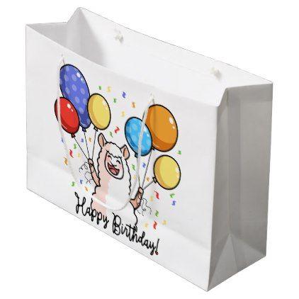 Happy Birthday Llama Large Gift Bag - birthday gifts party celebration custom gift ideas diy
