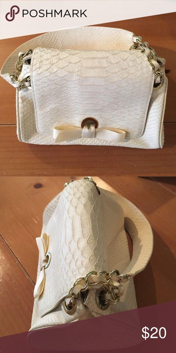 Banana Republic leather handbag 100% cow leather handbag-cream- with gold hardware and cream grosgrain ribbon details Banana Republic Bags Mini Bags