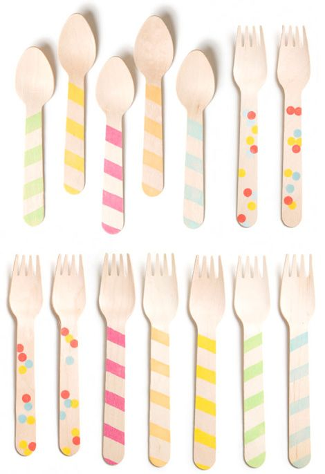 utensils by SucreKids Parties, Polka Dots, Company Picnics, Birthday Parties, Summer Picnics, Ice Cream, Parties Ideas, Wooden Utensils, Wooden Spoons