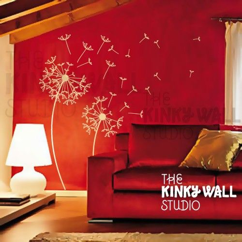 Dandelions Wall Decal Tree Flowers nature wall decals door KinkyWall, $48.00