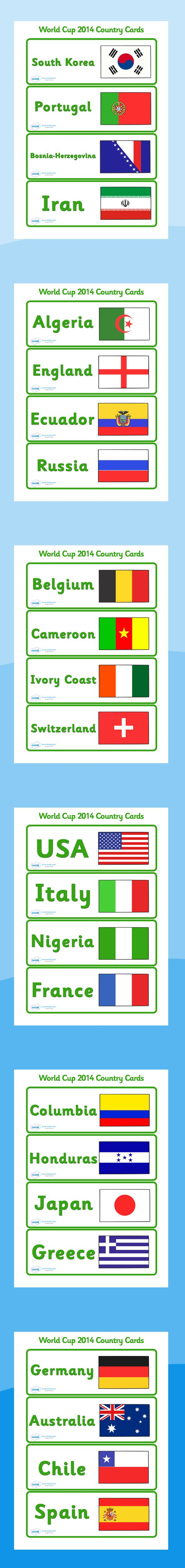 Football/World Cup- The World Cup countries and their flags labels