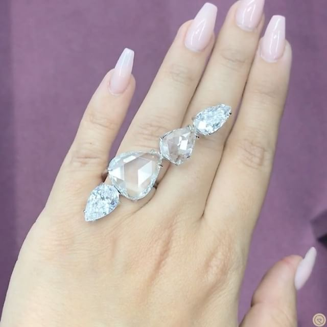 Lorraine Schwartz. Via BEBE BAKHSHI | CHAMPAGNE GEM (@champagnegem) on Instagram: Dream stack by having an ice Queen Moment wearing queen of diamonds @lorraineschwartz diamond ring set with rose-cut and peat-shaped diamonds, all flawless.