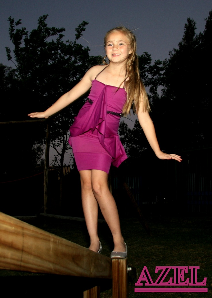 Purple Dress for girls with black belt. Designed by Nadia Uys - N Designs