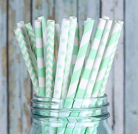 Mint Paper Straws - Multi-Design Pack (30)