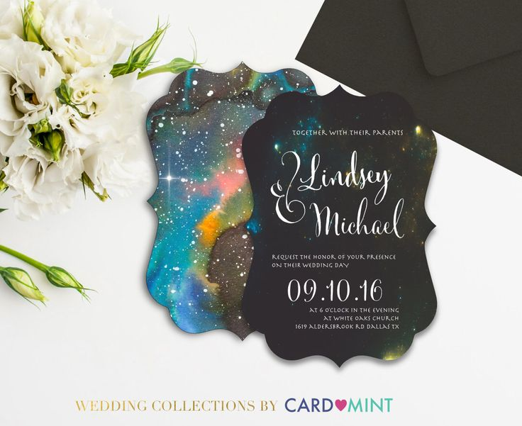 A personal favorite from my Etsy shop https://www.etsy.com/ca/listing/400215919/galaxy-wedding-invitations-set-package