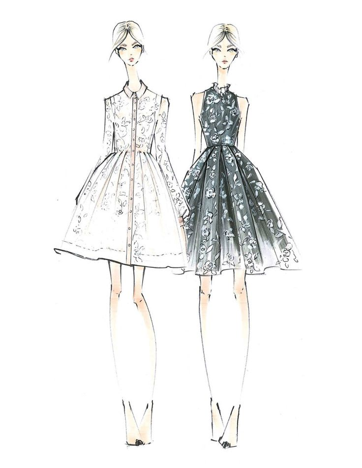 Fashion illustration - pretty fashion sketches for Erin Fetherston