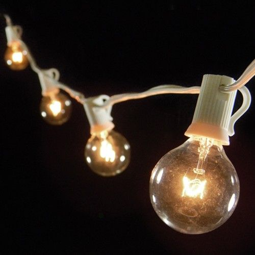 25 socket outdoor patio string light set g40 clear globe bulbs 28 ft white cord w e12 c7 base