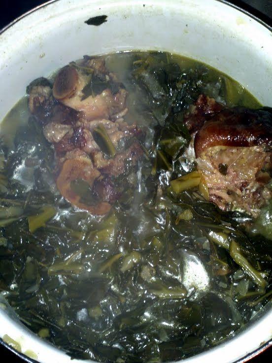 Smack ya Mama Collard greens with smoke meat ~ allcooks.com