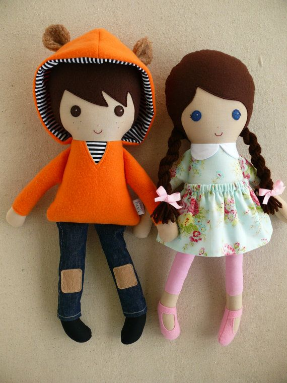 Reserved for Megan - Fabric Dolls Rag Dolls Brown Haired Girl and Boy Dolls in Orange Hoodie and Mint Green Dress