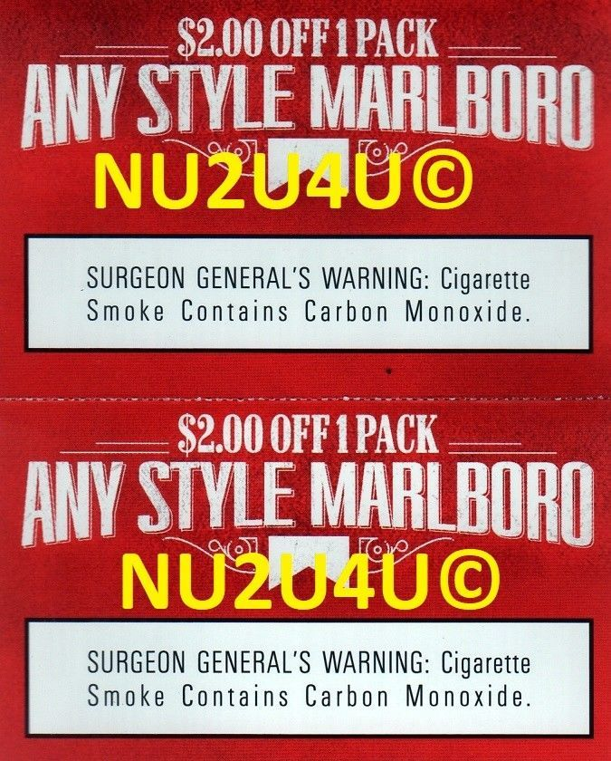 Marlboro Coupons - 2 X $2 00 OFF ANY PACK OF ANY STYLE MARLBORO