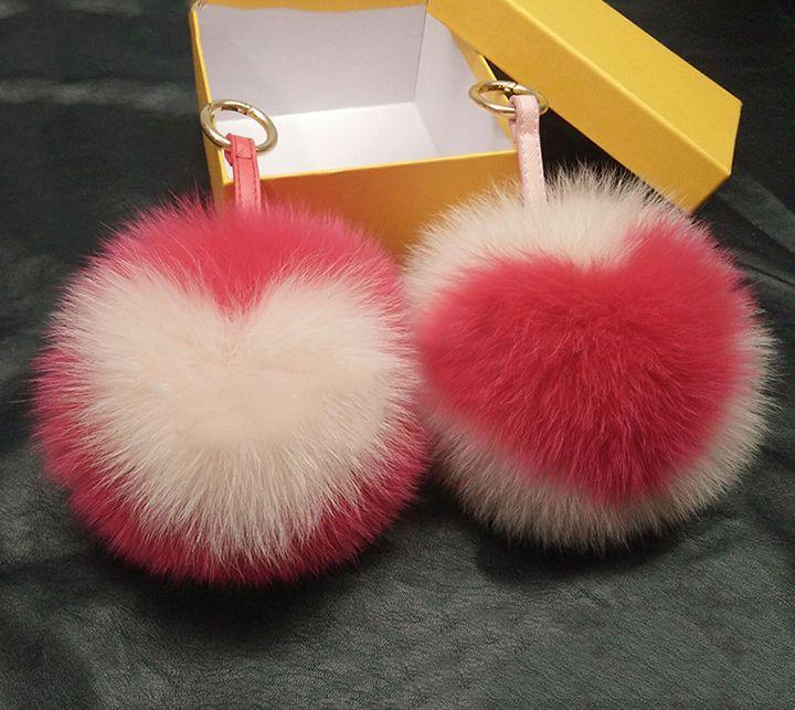 "7 COLOR 6"" Big Fox Fur Ball Birkin Drew Heart CHARM Mother's Day Valentine Gift #Unbranded"