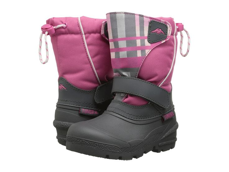 Tundra Boots Kids Quebec (Toddler/Little Kid/Big Kid) Girls Shoes Charcoal/Fuschia Plaid