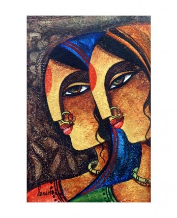 Rajasthani Women 1 11 X 75 Indian PaintingsPortrait PaintingsCanvas PaintingsAbstract
