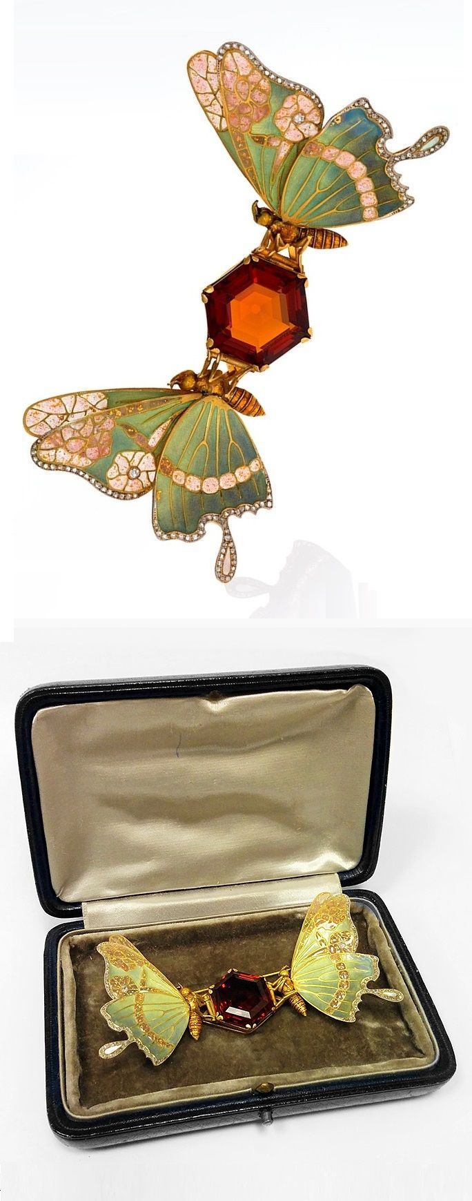 An exceptional Art Nouveau topaz, diamond and enamel butterfly brooch, circa 1900. 4 1/4 x 2 1/2 inches. #ArtNouveau #brooch