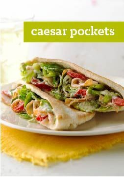 Caesar Pockets – Warm pita bread is the perfect vessel for turkey, Parmesan, roasted red peppers, crisp fresh lettuce and a splash of Caesar. Buh-bye, boring sandwich.