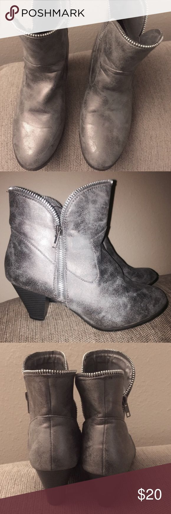 Silver Ankle Boots Gently worn; silver metallic flake finish. Zips up the side & goes well with almost anything! Dots Shoes Ankle Boots & Booties
