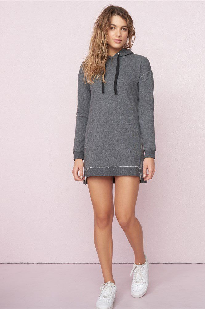 Hoodie Dress With Zippers