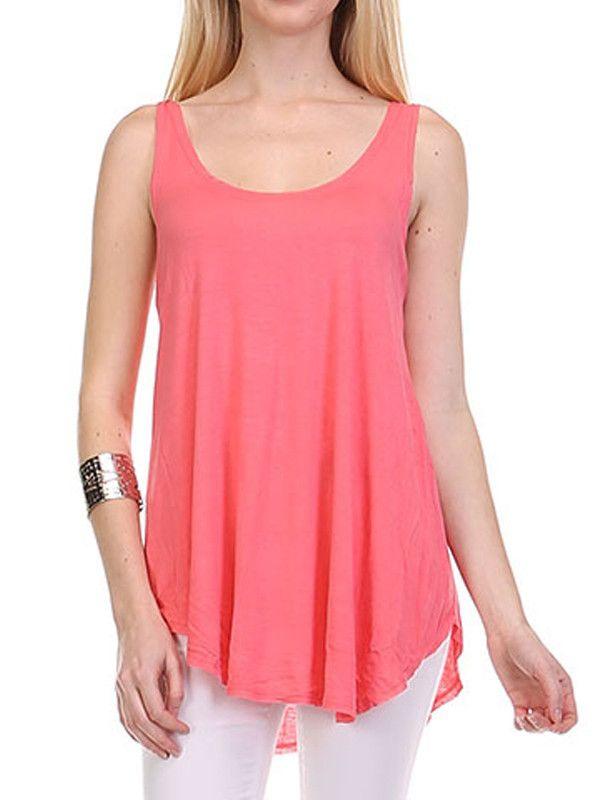 Solid Plain Sleeveless Long Jersey Tunic Tee Shirt Loose Tank Top