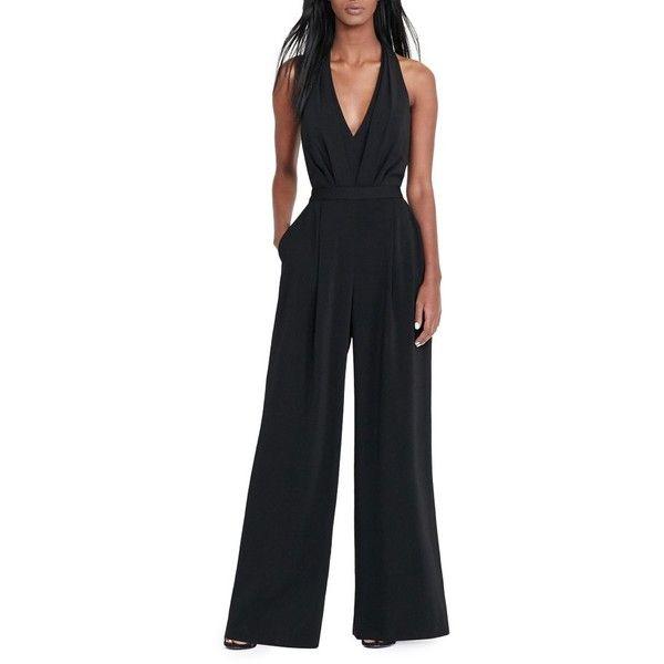 Women's Lauren Ralph Lauren Wide Leg Jumpsuit ($200) ❤ liked on Polyvore featuring jumpsuits, black, petite, wide leg jumpsuit, lauren ralph lauren, jump suit, petite jumpsuit and crepe jumpsuit