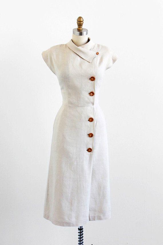 vintage 1940s dress / 40s dress / Natural Linen Wiggle Dress with Asymmetrical Collar