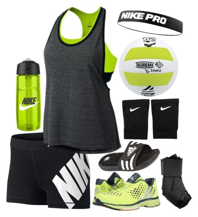 """WEDNESDAY: volleyball tryouts"" by kelsey-fenner ❤ liked on Polyvore featuring NIKE, adidas and mollysbtscontest"
