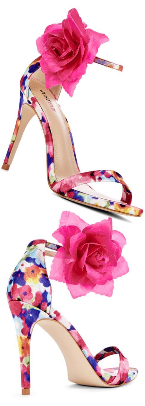 Kyla - Just Fab ~ Pink+Blue Floral Print Sandal Pumps w Rose Ankle Accent 2015